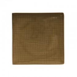 piatto piano quadrato marrone 22cm mesh