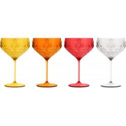 set 4 bicchiere cocktail - giallo arancio rosso fu
