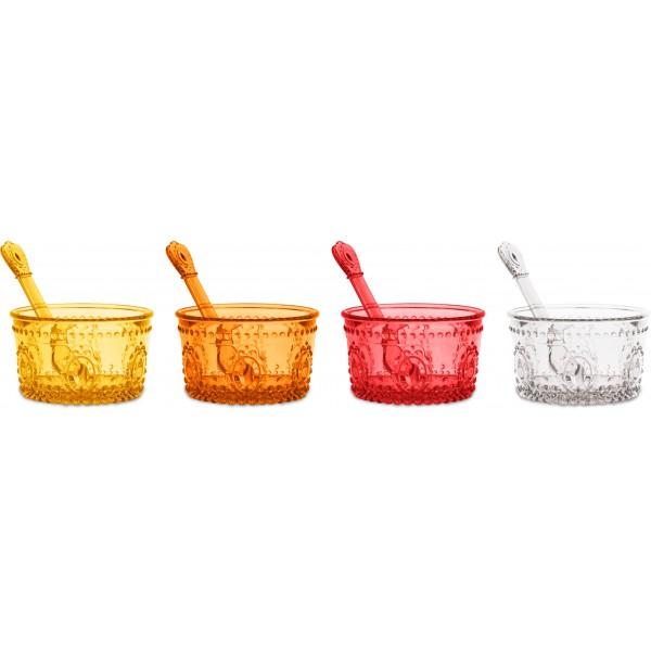set 4 coppetta gelato giallo arancio rosso traspar