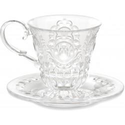tazzina caffè e piattino trasparente