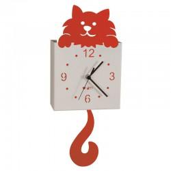 orologio gatto pendolo rosso