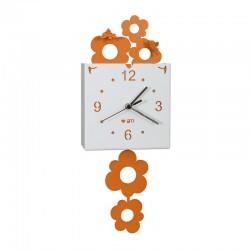 orologio ape coi fiori pendolo arancio