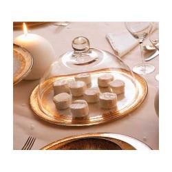 orizzonte set campana trasparente con piatto oro