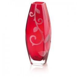 vaso rosso con decoro sabbiato