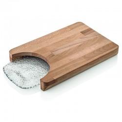 iroko set tagliere legno rett+vassoio rettangolare traspar