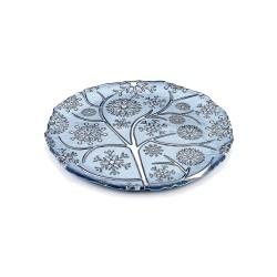 fiocco di neve piatto cm 36 decoro cromo blu