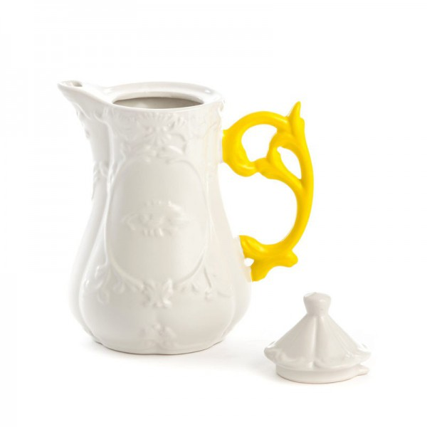 teiera in porcellana i wares con manico giallo
