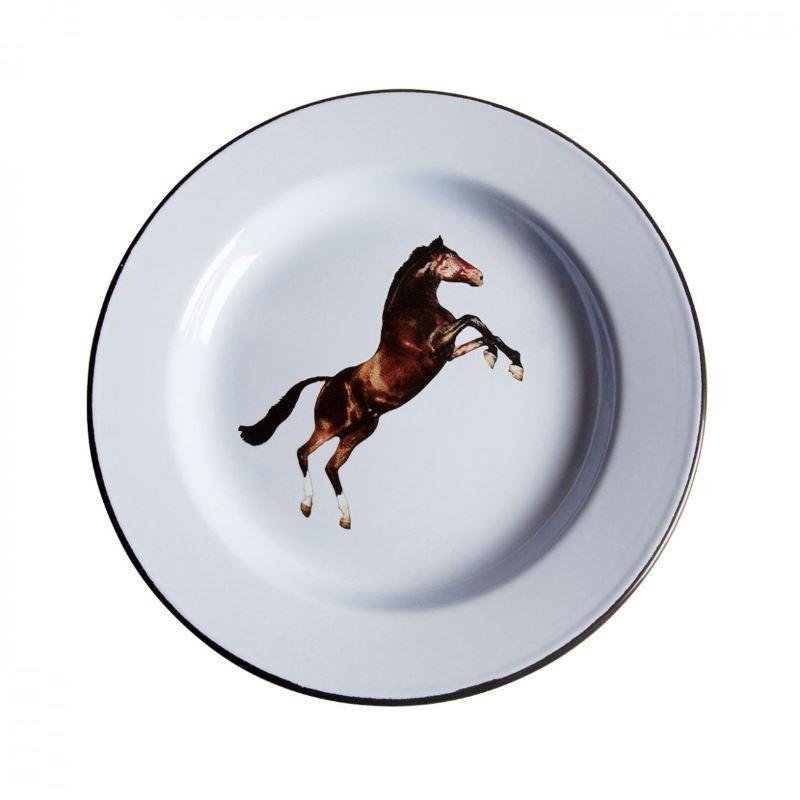 piatto in metallo smaltato cavallo toiletpaper