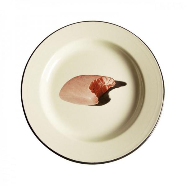piatto in metallo smaltato saponetta toiletpaper