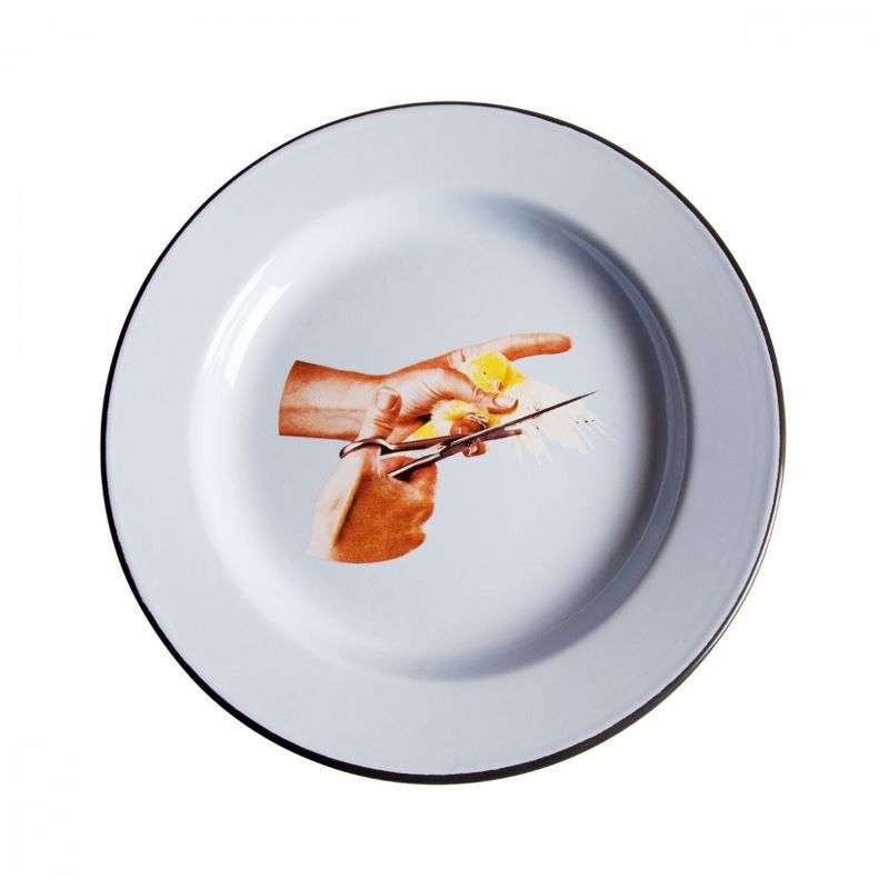 piatto in metallo smaltato uccellino toiletpaper
