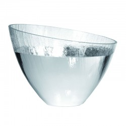 ciotola in vetro craquele' 25cm altezza 18  argento