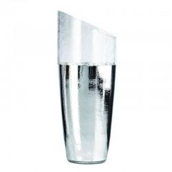 vaso in vetro craquele' 15cm altezza 36cm  argento