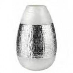 vaso in vetro infinity altezza 36cm  bianco perla