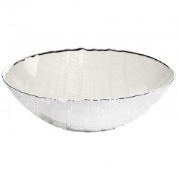 ciotola in vetro wood 26cm altezza 8cm  bianco perla