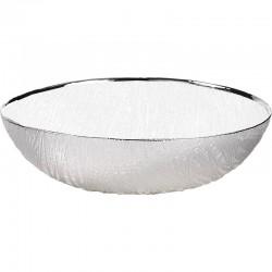 ciotola in vetro wood 20cm altezza 7cm  bianco perla