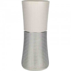 vaso in vetro quadri altezza 35cm  bianco perla
