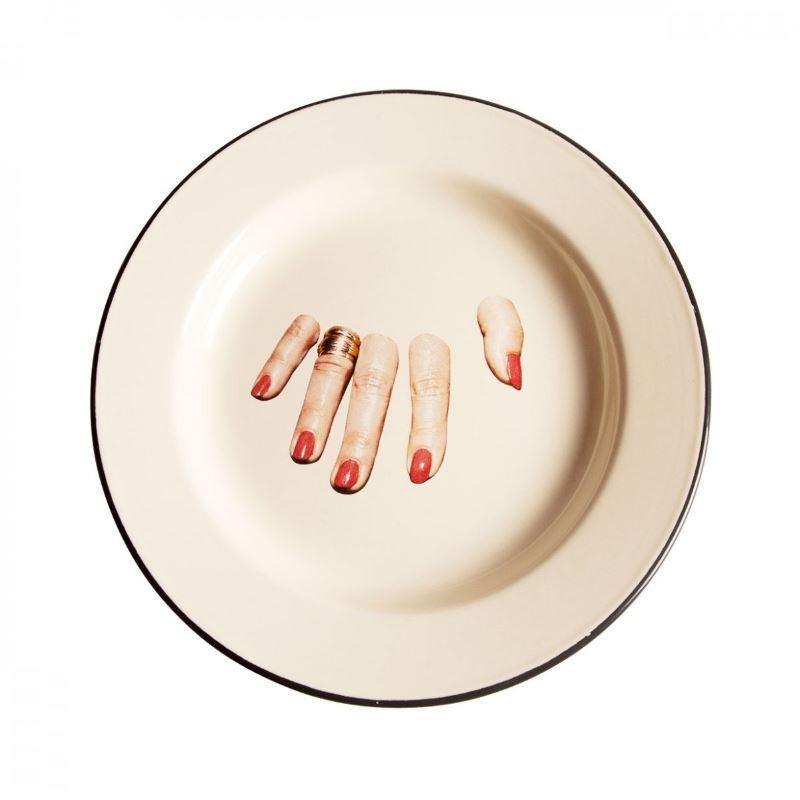 piatto in metallo smaltato dita toiletpaper