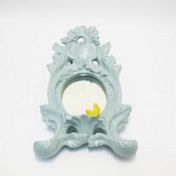 specchierina acqamarina con uccellino giallo