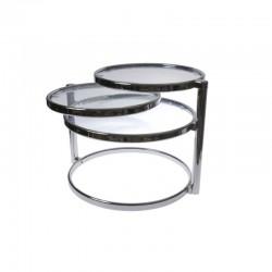 tavolino a 3 piani ruotabili vetro trasparente