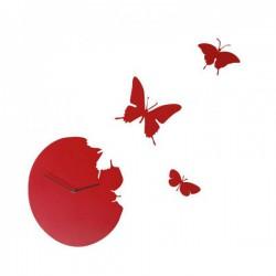 orologio tondo con farfalle rosso