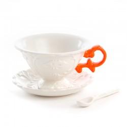 """set da te' in porcellana """"i-wares"""" con manici col. - arancio"""