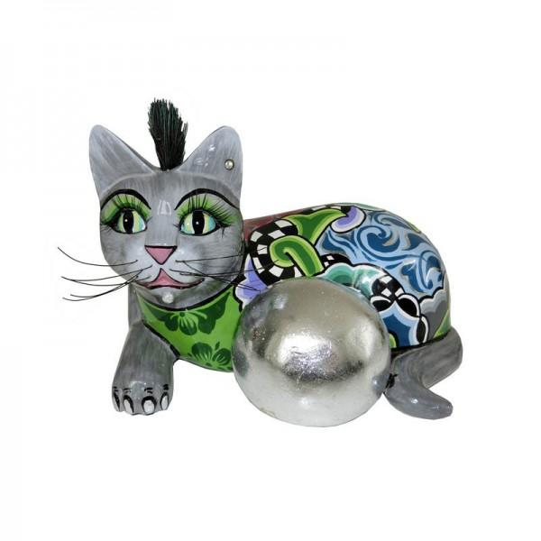 Statuina gatto 22cm silver ball