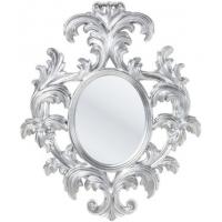 specchio barocco ovale foglia argento