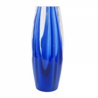 vaso in cristallo blu e trasparente cm 32