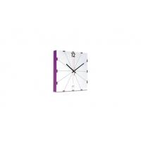 orologio muro quadrato bianco bordo viola