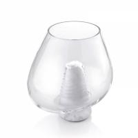 centrotavola 25cm in marmo di carrara e vetro soffiato