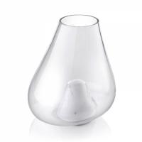 vaso 30cm in marmo di carrara e vetro soffiato