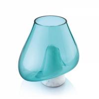 coppa in marmo di carrara e vetro soffiato turchese