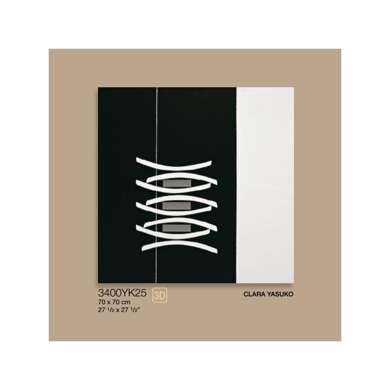 quadro nero c/dec e fascia bianca 70x70