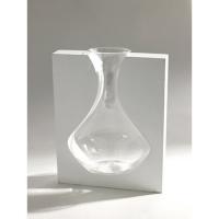 vaso in legno e vetro misura  cm 28 h