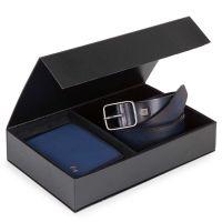 Confezione regalo portafoglio e cintura blu