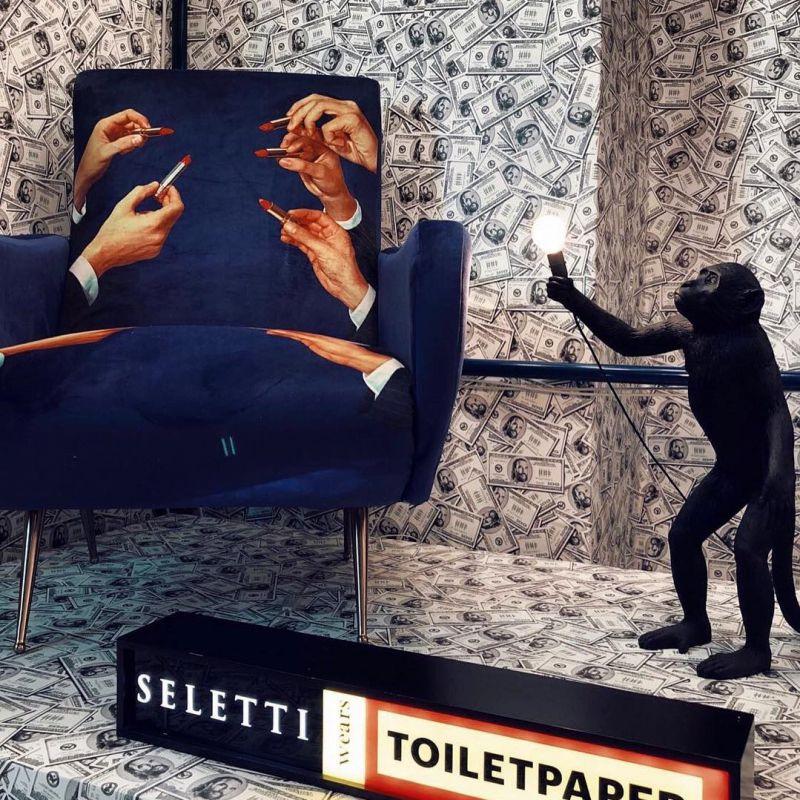 Lampada scimmia nera 54cm monkey lamp seletti domustore for Lampada scimmia seletti