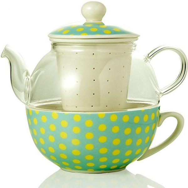 teiera con filtro pois vetro e ceramica