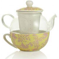 teiera con filtro damasco vetro e ceramica