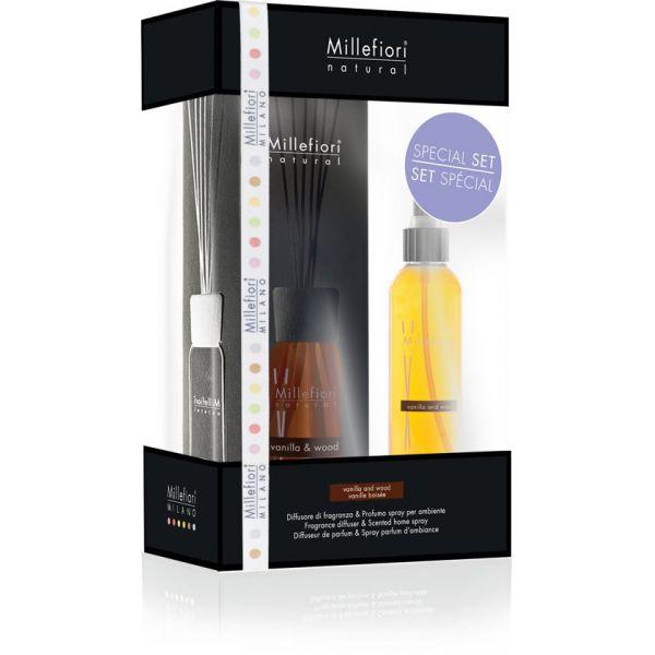 set diffusore 100 ml & deodorante spray per ambienti 150ml vanilla & wood