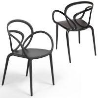 Coppia di sedie nere loop chair