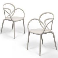 Coppia di sedie beige loop chair