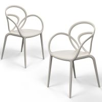 Coppia di sedie bianche loop chair