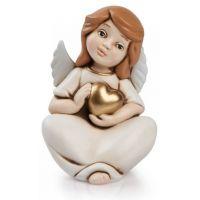 angelo del cuore seduto oro medio
