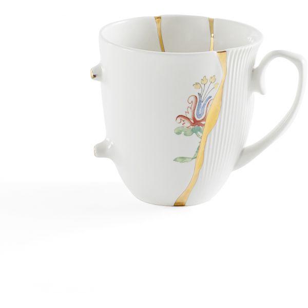 Servizio 6 tazze tè in porcellana e oro 24 carati Kintsugi