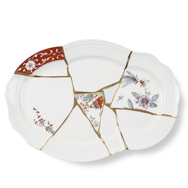 Vassoio in porcellana e oro 24 carati Kintsugi