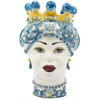 Vaso testa di moro donna azzurro Verus