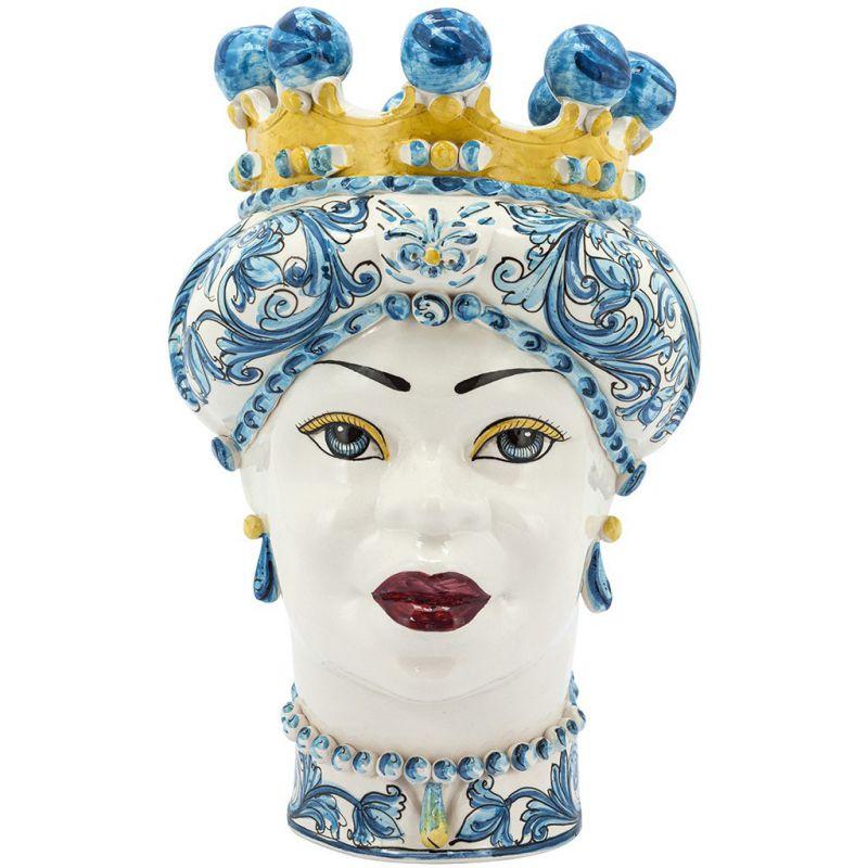 Testa Di Moro Ceramica Verus.Vaso Testa Di Moro Donna Azzurro Verus Abhika Domustore Luxury