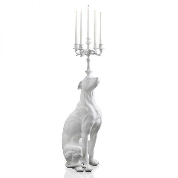 Statua candelabro bianca cane levriero