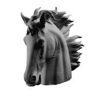 Scultura testa di cavallo nera