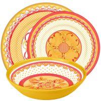 Servizio 18 piatti toni arancio